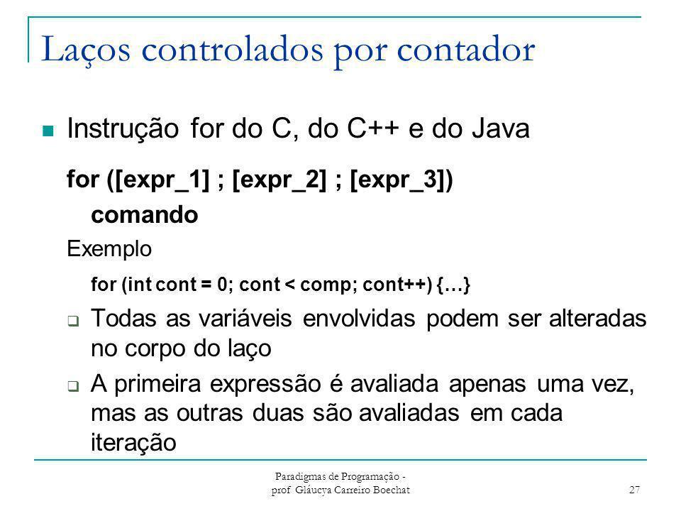 Laços controlados por contador Instrução for do C, do C++ e do Java for ([expr_1] ; [expr_2] ; [expr_3]) comando Exemplo for (int cont = 0; cont < com