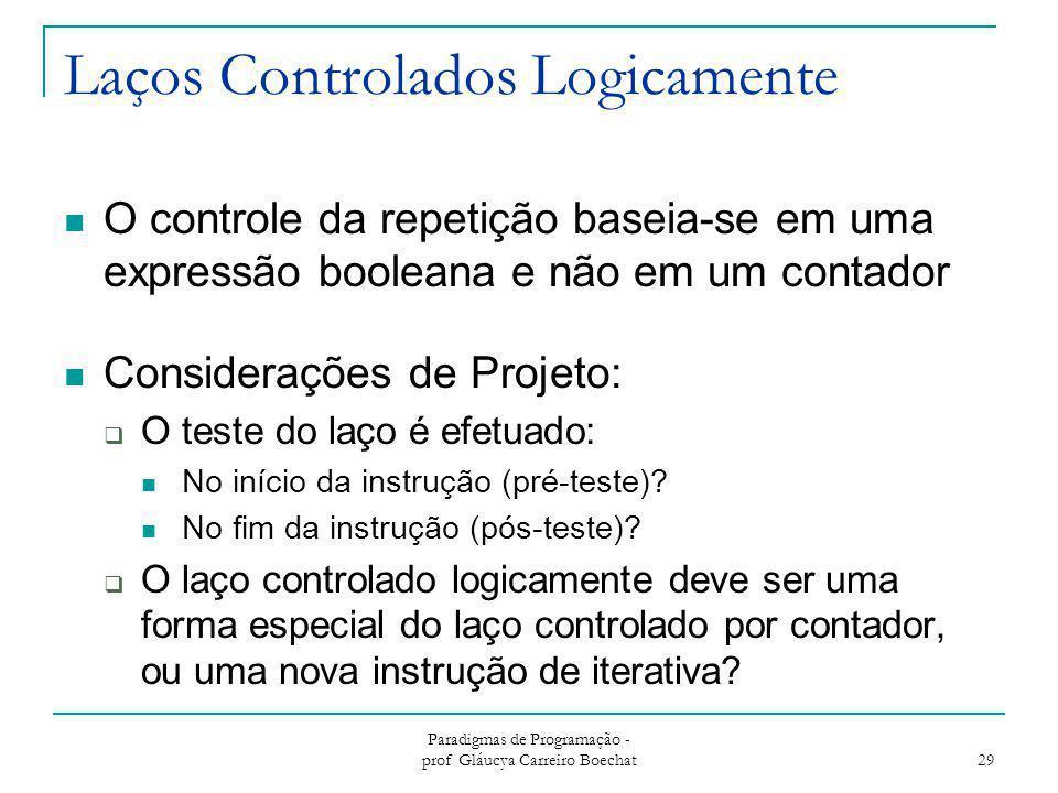 Laços Controlados Logicamente O controle da repetição baseia-se em uma expressão booleana e não em um contador Considerações de Projeto:  O teste do