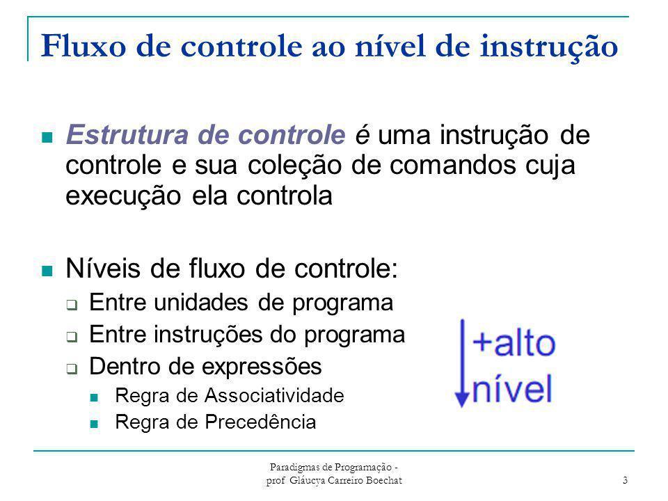 Paradigmas de Programação - prof Gláucya Carreiro Boechat 3 Fluxo de controle ao nível de instrução Estrutura de controle é uma instrução de controle