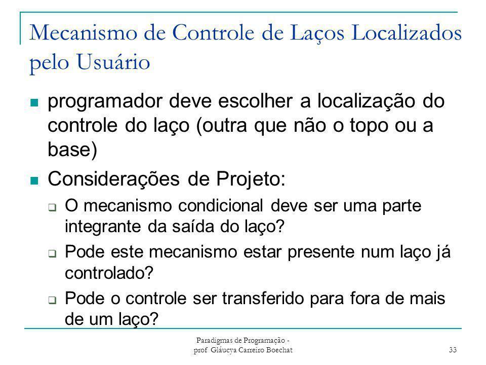Mecanismo de Controle de Laços Localizados pelo Usuário programador deve escolher a localização do controle do laço (outra que não o topo ou a base) C