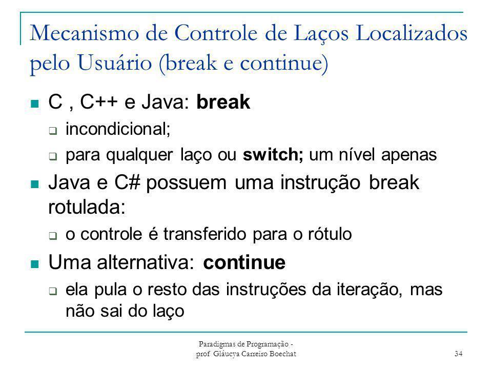 Mecanismo de Controle de Laços Localizados pelo Usuário (break e continue) C, C++ e Java: break  incondicional;  para qualquer laço ou switch; um ní