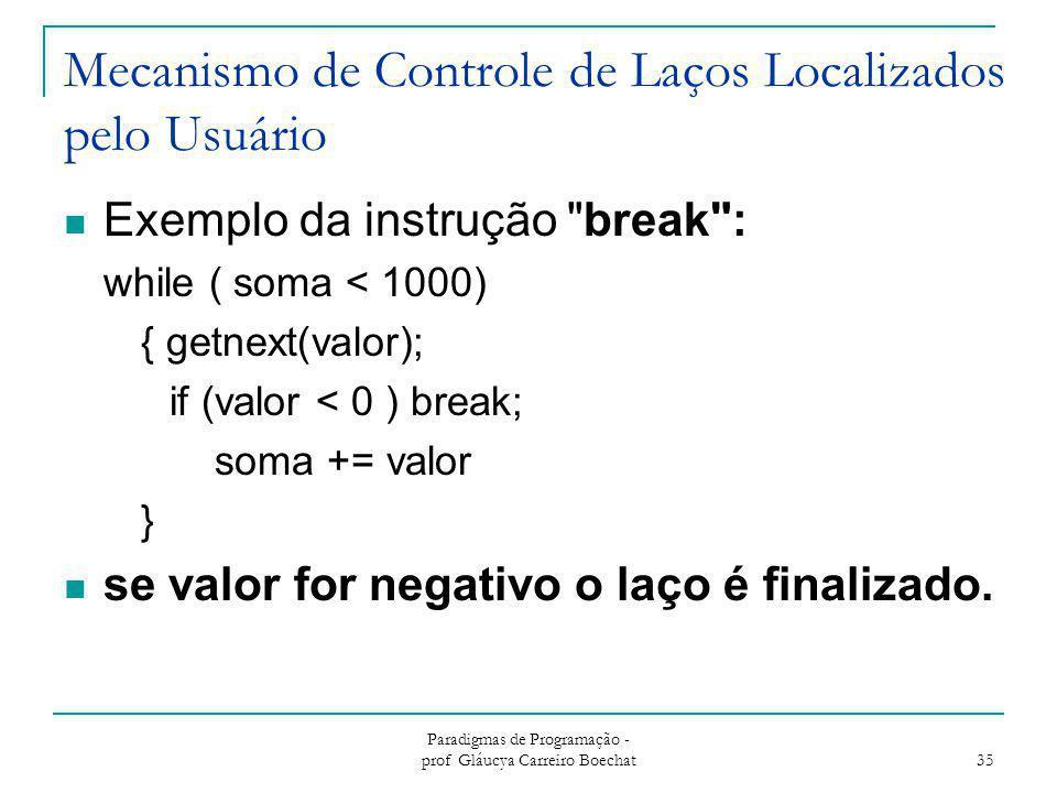 Mecanismo de Controle de Laços Localizados pelo Usuário Exemplo da instrução