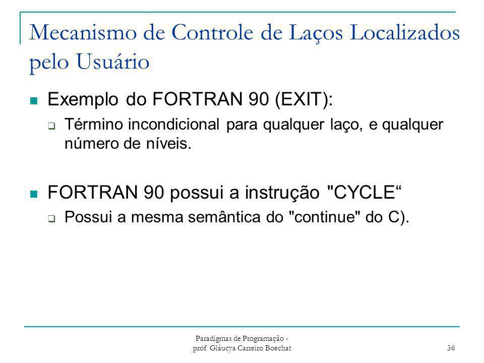 Mecanismo de Controle de Laços Localizados pelo Usuário Exemplo do FORTRAN 90 (EXIT):  Término incondicional para qualquer laço, e qualquer número de