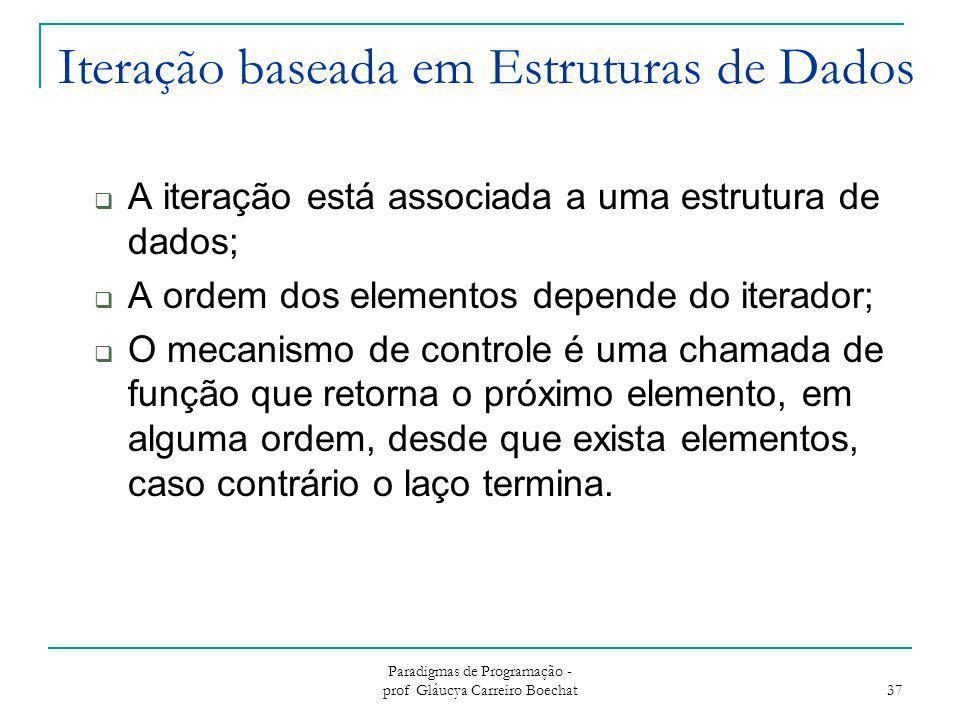 Iteração baseada em Estruturas de Dados  A iteração está associada a uma estrutura de dados;  A ordem dos elementos depende do iterador;  O mecanis