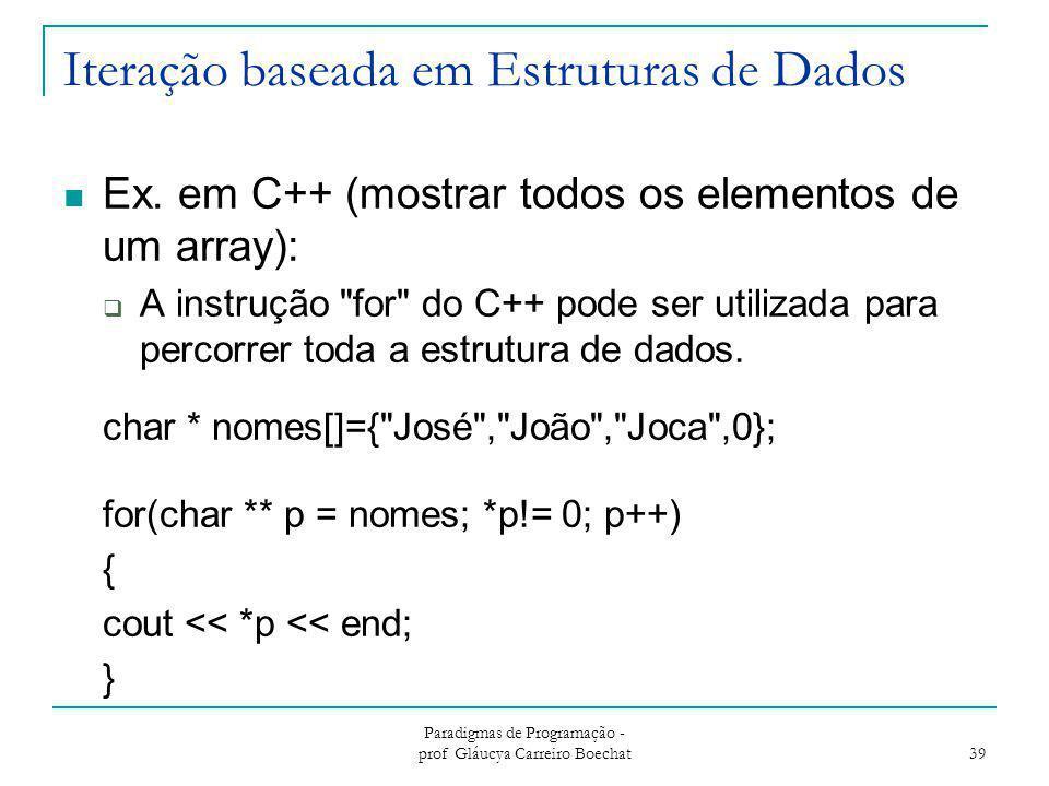 Iteração baseada em Estruturas de Dados Ex. em C++ (mostrar todos os elementos de um array):  A instrução