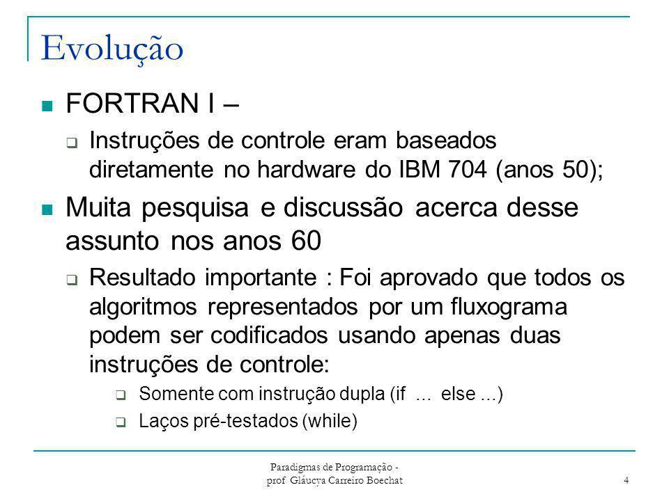Paradigmas de Programação - prof Gláucya Carreiro Boechat 4 Evolução FORTRAN I –  Instruções de controle eram baseados diretamente no hardware do IBM
