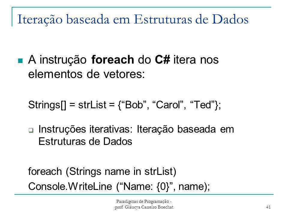 """Iteração baseada em Estruturas de Dados A instrução foreach do C# itera nos elementos de vetores: Strings[] = strList = {""""Bob"""", """"Carol"""", """"Ted""""};  Ins"""