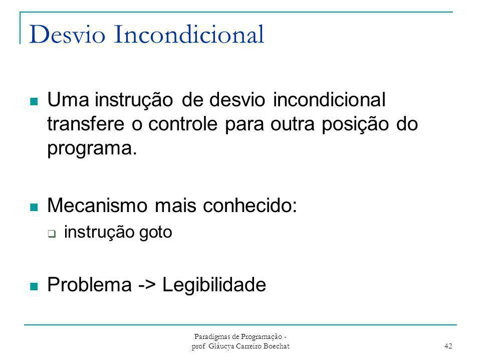 Desvio Incondicional Uma instrução de desvio incondicional transfere o controle para outra posição do programa. Mecanismo mais conhecido:  instrução