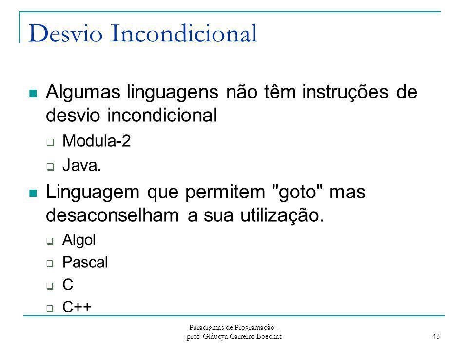 Desvio Incondicional Algumas linguagens não têm instruções de desvio incondicional  Modula-2  Java. Linguagem que permitem