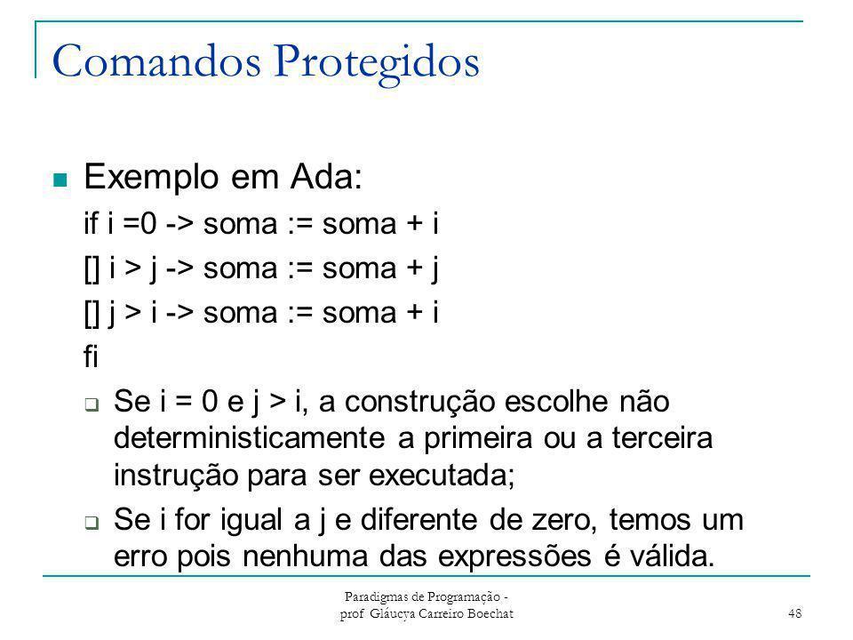 Comandos Protegidos Exemplo em Ada: if i =0 -> soma := soma + i [] i > j -> soma := soma + j [] j > i -> soma := soma + i fi  Se i = 0 e j > i, a con