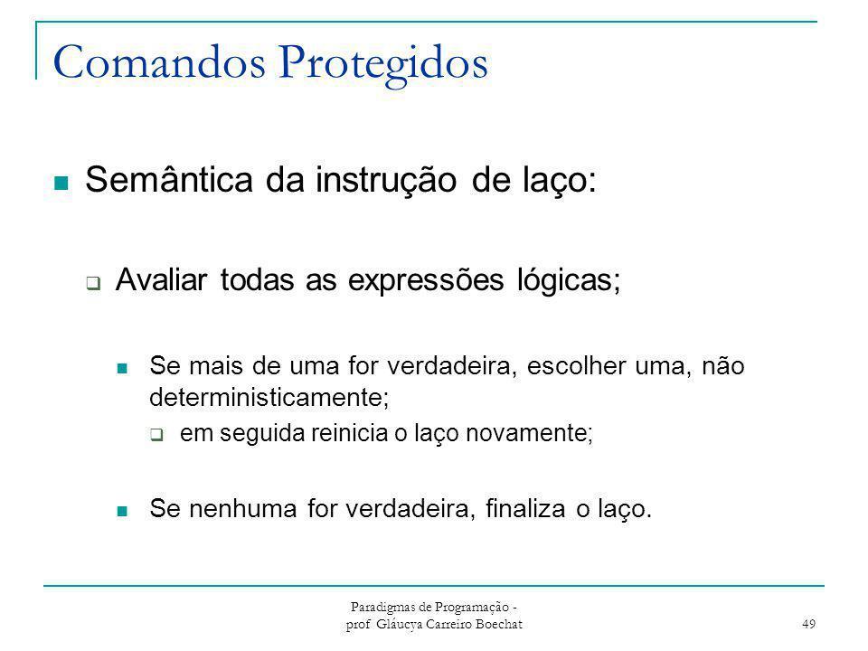 Comandos Protegidos Semântica da instrução de laço:  Avaliar todas as expressões lógicas; Se mais de uma for verdadeira, escolher uma, não determinis