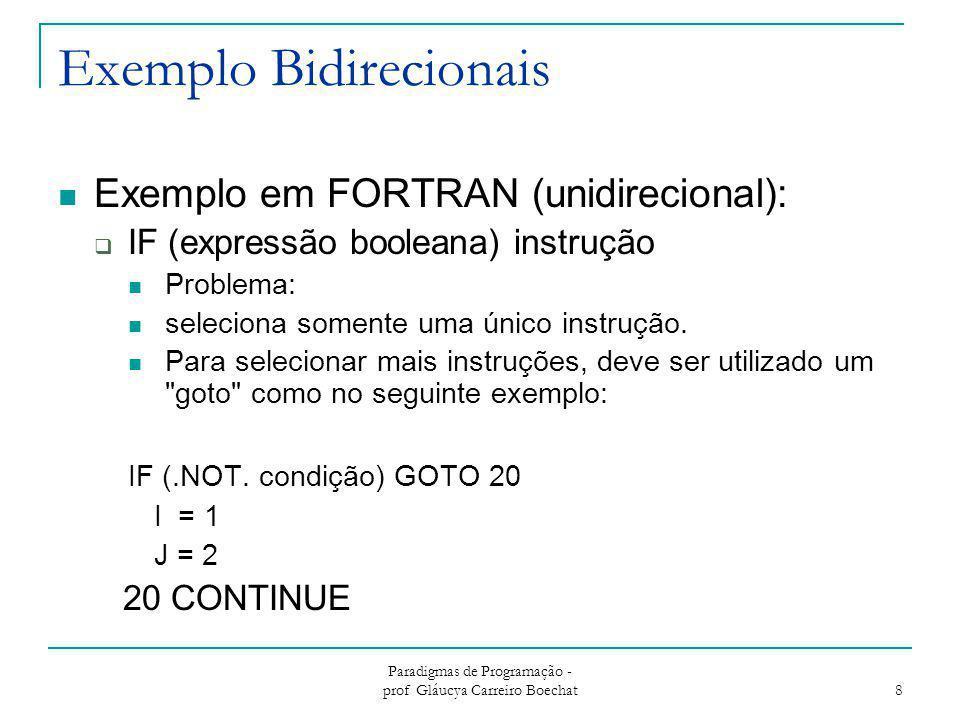 Paradigmas de Programação - prof Gláucya Carreiro Boechat 8 Exemplo Bidirecionais Exemplo em FORTRAN (unidirecional):  IF (expressão booleana) instru