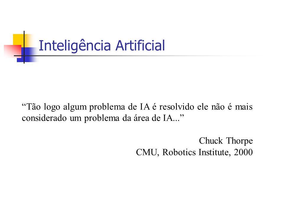 """12 Inteligência Artificial """"Tão logo algum problema de IA é resolvido ele não é mais considerado um problema da área de IA..."""" Chuck Thorpe CMU, Robot"""
