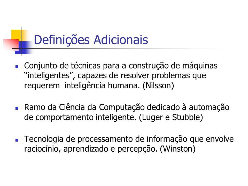 13 Definições Adicionais Conjunto de técnicas para a construção de máquinas inteligentes , capazes de resolver problemas que requerem inteligência humana.