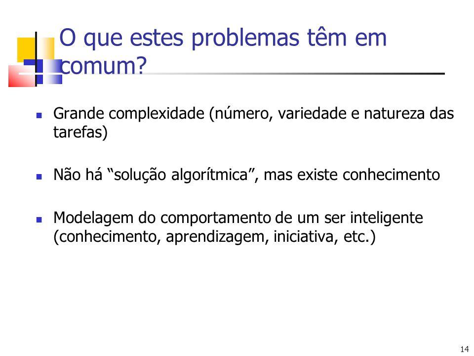 """14 O que estes problemas têm em comum? Grande complexidade (número, variedade e natureza das tarefas) Não há """"solução algorítmica"""", mas existe conheci"""