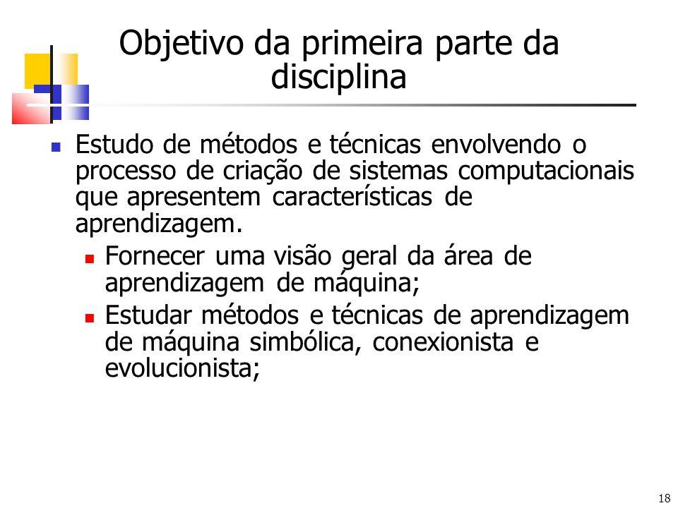 18 Objetivo da primeira parte da disciplina Estudo de métodos e técnicas envolvendo o processo de criação de sistemas computacionais que apresentem características de aprendizagem.