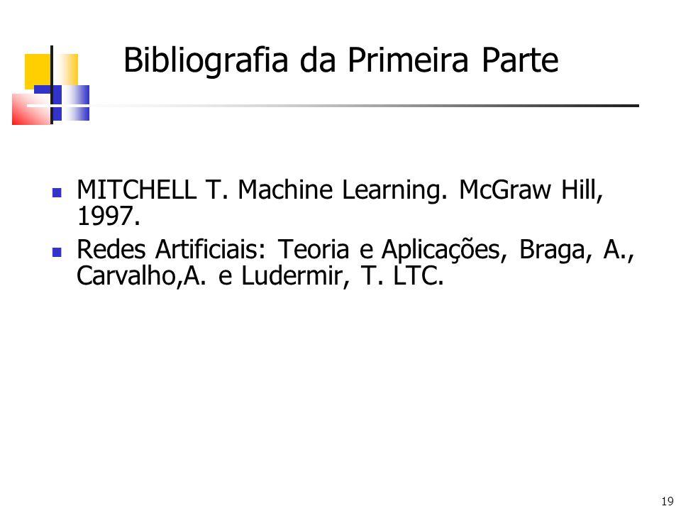 19 Bibliografia da Primeira Parte MITCHELL T. Machine Learning. McGraw Hill, 1997. Redes Artificiais: Teoria e Aplicações, Braga, A., Carvalho,A. e Lu