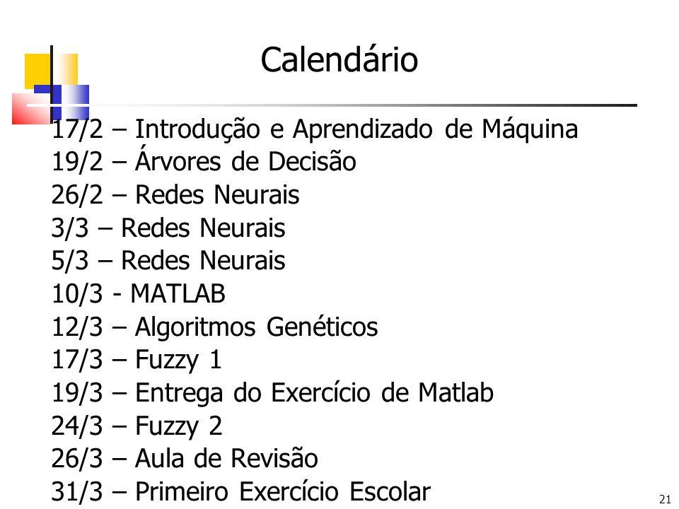 21 Calendário 17/2 – Introdução e Aprendizado de Máquina 19/2 – Árvores de Decisão 26/2 – Redes Neurais 3/3 – Redes Neurais 5/3 – Redes Neurais 10/3 - MATLAB 12/3 – Algoritmos Genéticos 17/3 – Fuzzy 1 19/3 – Entrega do Exercício de Matlab 24/3 – Fuzzy 2 26/3 – Aula de Revisão 31/3 – Primeiro Exercício Escolar