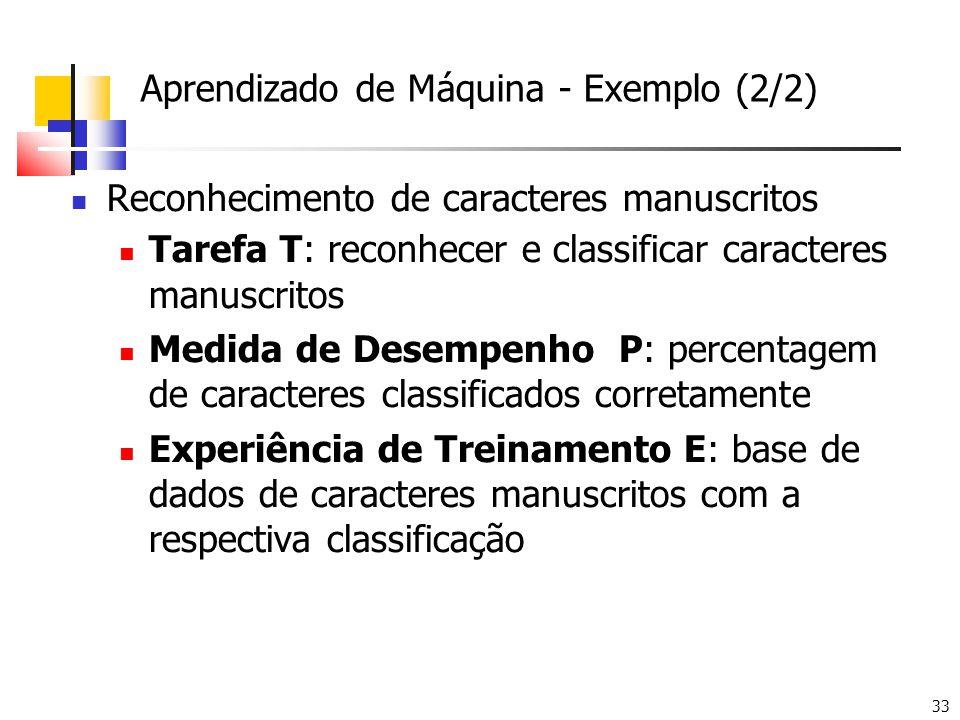 33 Aprendizado de Máquina - Exemplo (2/2) Reconhecimento de caracteres manuscritos Tarefa T: reconhecer e classificar caracteres manuscritos Medida de Desempenho P: percentagem de caracteres classificados corretamente Experiência de Treinamento E: base de dados de caracteres manuscritos com a respectiva classificação