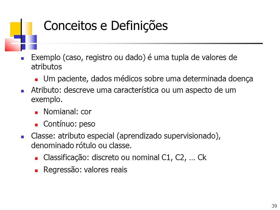 39 Conceitos e Definições Exemplo (caso, registro ou dado) é uma tupla de valores de atributos Um paciente, dados médicos sobre uma determinada doença Atributo: descreve uma característica ou um aspecto de um exemplo.