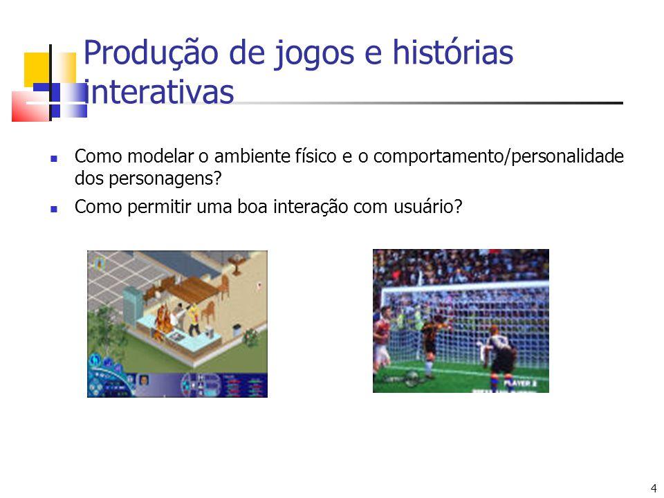 4 4 FIFA SoccerThe Sims Produção de jogos e histórias interativas Como modelar o ambiente físico e o comportamento/personalidade dos personagens? Como