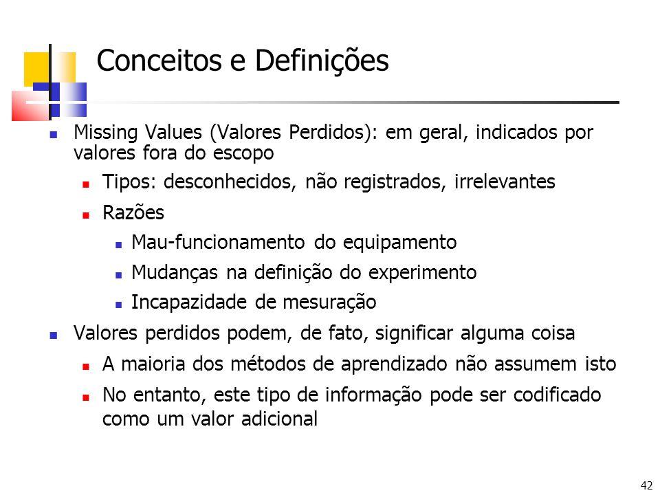 42 Conceitos e Definições Missing Values (Valores Perdidos): em geral, indicados por valores fora do escopo Tipos: desconhecidos, não registrados, irrelevantes Razões Mau-funcionamento do equipamento Mudanças na definição do experimento Incapazidade de mesuração Valores perdidos podem, de fato, significar alguma coisa A maioria dos métodos de aprendizado não assumem isto No entanto, este tipo de informação pode ser codificado como um valor adicional