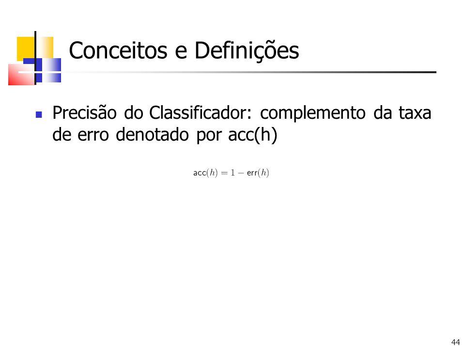 44 Conceitos e Definições Precisão do Classificador: complemento da taxa de erro denotado por acc(h)