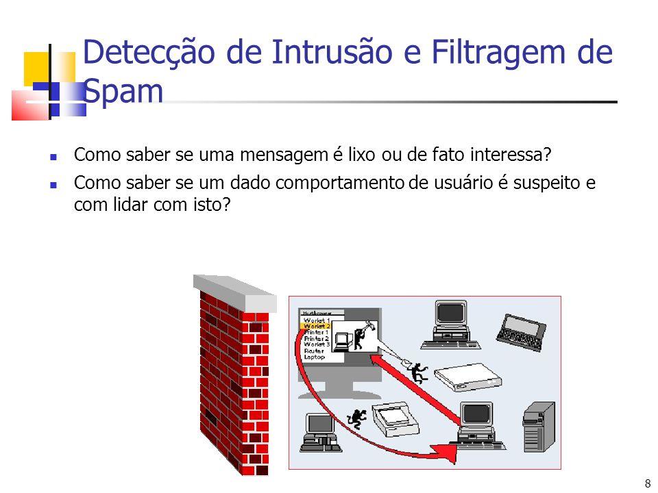 8 8 Detecção de Intrusão e Filtragem de Spam Como saber se uma mensagem é lixo ou de fato interessa? Como saber se um dado comportamento de usuário é