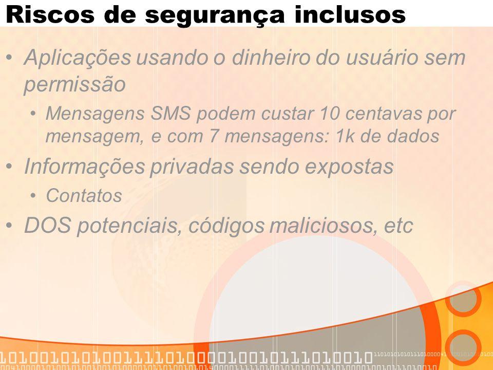 Riscos de segurança inclusos Aplicações usando o dinheiro do usuário sem permissão Mensagens SMS podem custar 10 centavas por mensagem, e com 7 mensagens: 1k de dados Informações privadas sendo expostas Contatos DOS potenciais, códigos maliciosos, etc