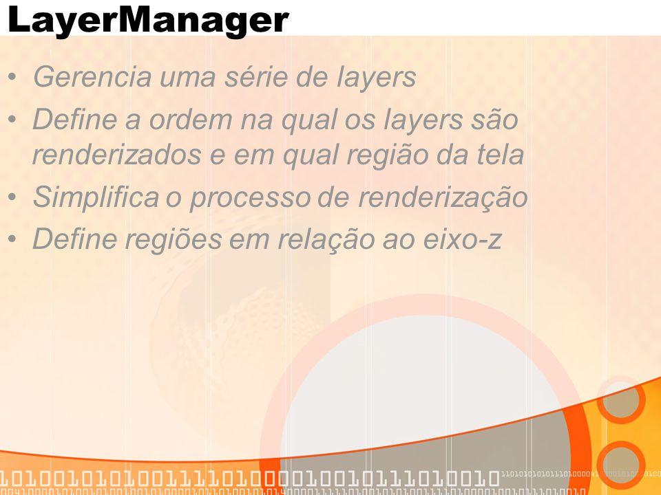 LayerManager Gerencia uma série de layers Define a ordem na qual os layers são renderizados e em qual região da tela Simplifica o processo de renderização Define regiões em relação ao eixo-z