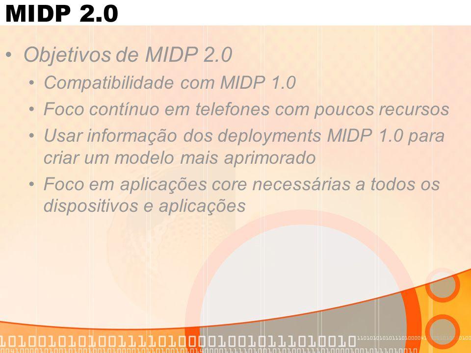 MIDP 2.0 Objetivos de MIDP 2.0 Compatibilidade com MIDP 1.0 Foco contínuo em telefones com poucos recursos Usar informação dos deployments MIDP 1.0 para criar um modelo mais aprimorado Foco em aplicações core necessárias a todos os dispositivos e aplicações