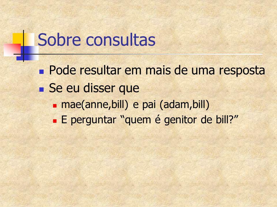 Sobre consultas Pode resultar em mais de uma resposta Se eu disser que mae(anne,bill) e pai (adam,bill) E perguntar quem é genitor de bill