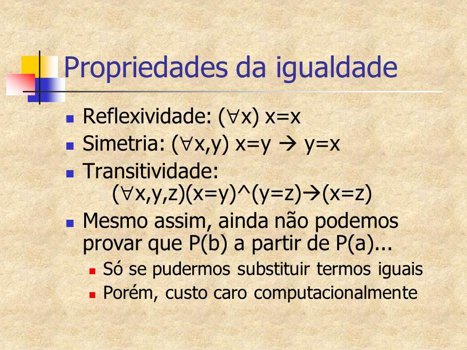 Propriedades da igualdade Reflexividade: (  x) x=x Simetria: (  x,y) x=y  y=x Transitividade: (  x,y,z)(x=y)^(y=z)  (x=z) Mesmo assim, ainda não podemos provar que P(b) a partir de P(a)...
