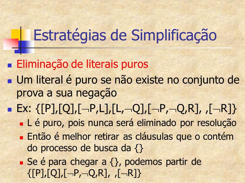 Estratégias de Simplificação Eliminação de literais puros Um literal é puro se não existe no conjunto de prova a sua negação Ex: {[P],[Q],[  P,L],[L,  Q],[  P,  Q,R],,[  R]} L é puro, pois nunca será eliminado por resolução Então é melhor retirar as cláusulas que o contém do processo de busca da {} Se é para chegar a {}, podemos partir de {[P],[Q],[  P,  Q,R],,[  R]}