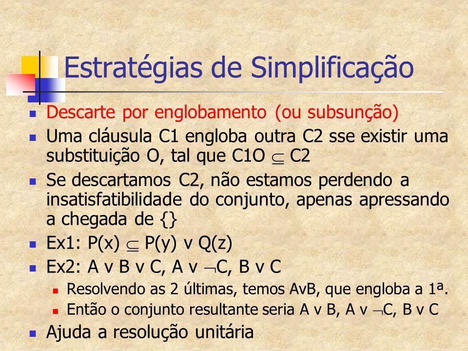 Estratégias de Simplificação Descarte por englobamento (ou subsunção) Uma cláusula C1 engloba outra C2 sse existir uma substituição O, tal que C1O  C2 Se descartamos C2, não estamos perdendo a insatisfatibilidade do conjunto, apenas apressando a chegada de {} Ex1: P(x)  P(y) v Q(z) Ex2: A v B v C, A v  C, B v C Resolvendo as 2 últimas, temos AvB, que engloba a 1ª.