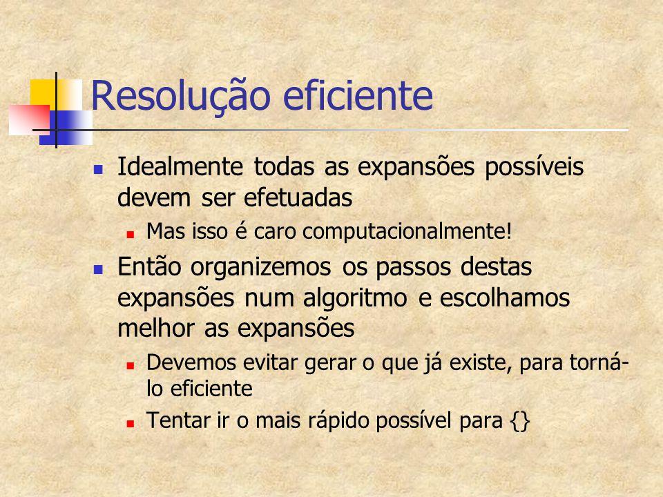Resolução eficiente Idealmente todas as expansões possíveis devem ser efetuadas Mas isso é caro computacionalmente.