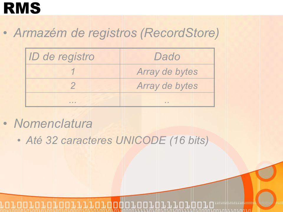 RMS Armazém de registros (RecordStore) Nomenclatura Até 32 caracteres UNICODE (16 bits) ID de registroDado 1Array de bytes 2.....
