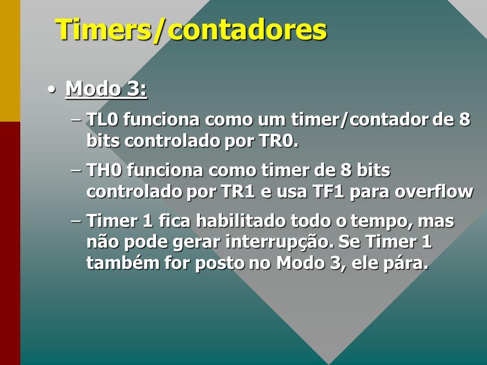 Timers/contadores Modo 3:Modo 3: –TL0 funciona como um timer/contador de 8 bits controlado por TR0. –TH0 funciona como timer de 8 bits controlado por