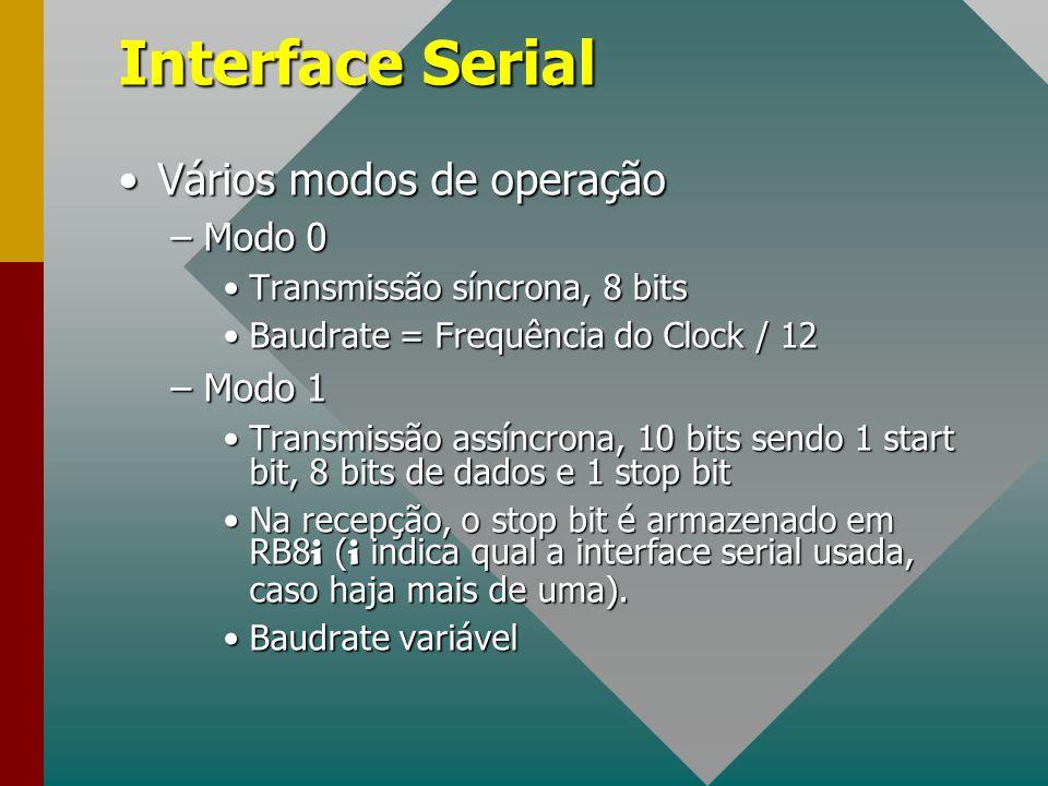 Interface Serial Vários modos de operaçãoVários modos de operação –Modo 0 Transmissão síncrona, 8 bitsTransmissão síncrona, 8 bits Baudrate = Frequênc