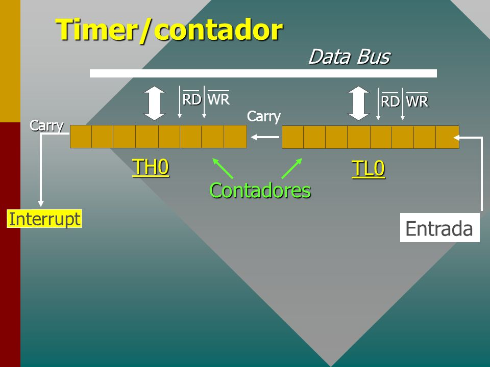 Timer/contadorTH0 TL0 Carry Carry Interrupt Entrada Contadores Data Bus RDWR RDWR