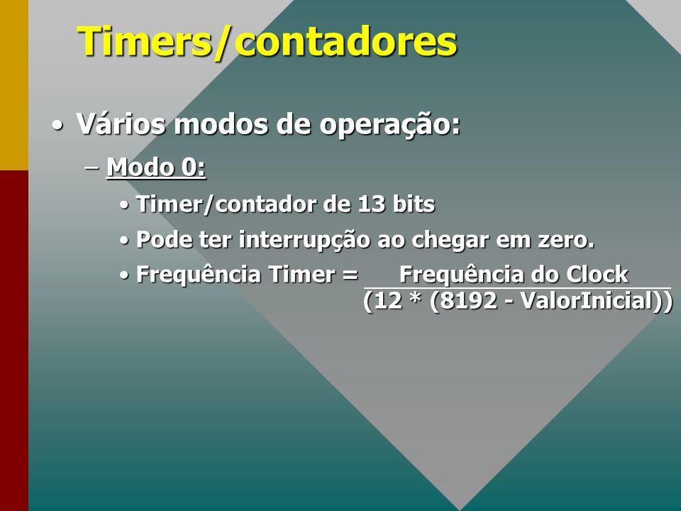 Timers/contadores Vários modos de operação:Vários modos de operação: –Modo 0: Timer/contador de 13 bitsTimer/contador de 13 bits Pode ter interrupção