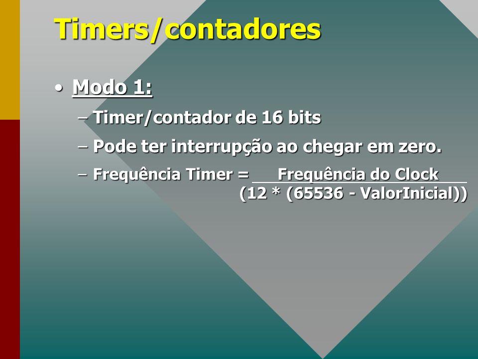 Timers/contadores Modo 1:Modo 1: –Timer/contador de 16 bits –Pode ter interrupção ao chegar em zero. –Frequência Timer = Frequência do Clock (12 * (65