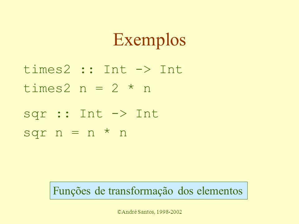 ©André Santos, 1998-2002 A função de mapeamento Recebe como argumentos –a transformação a ser aplicada a cada elemento da lista uma função –a lista de entrada