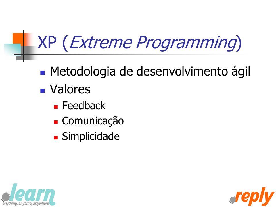 XP (Extreme Programming) Metodologia de desenvolvimento ágil Valores Feedback Comunicação Simplicidade