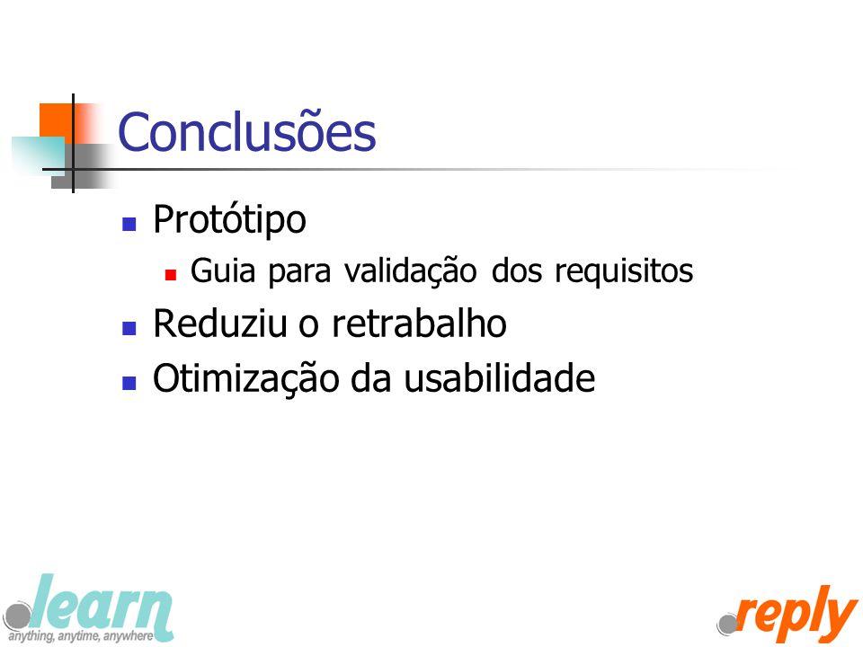 Conclusões Protótipo Guia para validação dos requisitos Reduziu o retrabalho Otimização da usabilidade