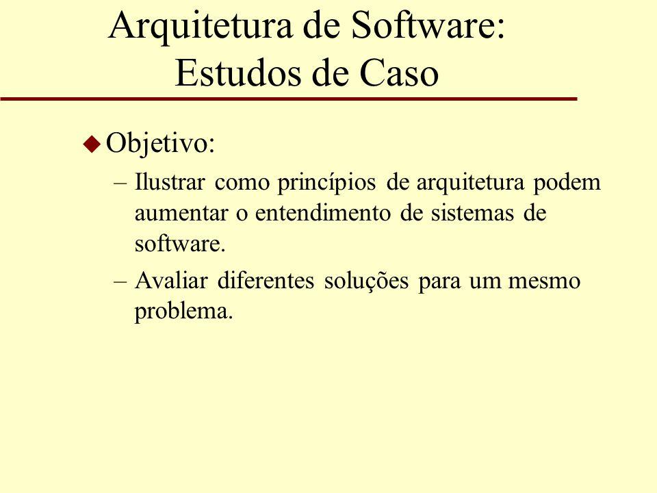 Arquitetura de Software: Estudos de Caso u Objetivo: –Ilustrar como princípios de arquitetura podem aumentar o entendimento de sistemas de software. –