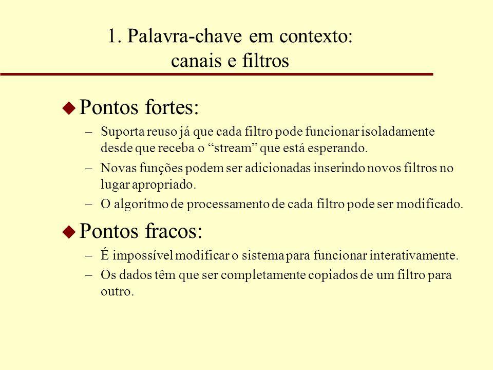 """1. Palavra-chave em contexto: canais e filtros u Pontos fortes: –Suporta reuso já que cada filtro pode funcionar isoladamente desde que receba o """"stre"""
