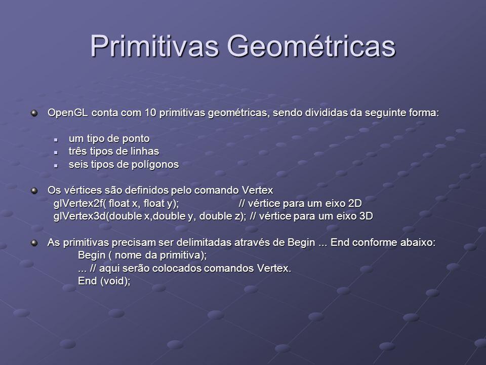 Primitivas Geométricas OpenGL conta com 10 primitivas geométricas, sendo divididas da seguinte forma: um tipo de ponto um tipo de ponto três tipos de