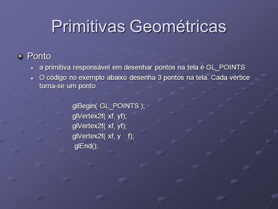 Primitivas Geométricas Ponto a primitiva responsável em desenhar pontos na tela é GL_POINTS a primitiva responsável em desenhar pontos na tela é GL_PO