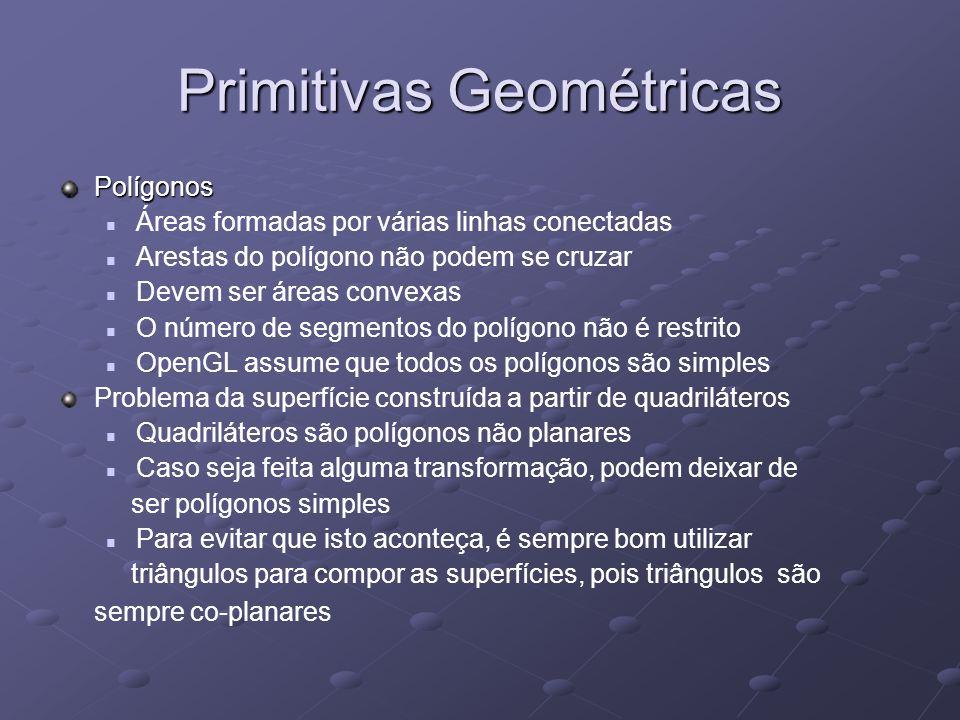 Primitivas Geométricas Polígonos Áreas formadas por várias linhas conectadas Arestas do polígono não podem se cruzar Devem ser áreas convexas O número